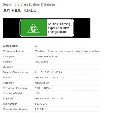JoyRide Turbo from Microsoft Outed by Ratings Board