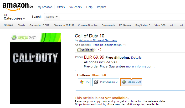 Call of Duty 10  Xbox 360  Amazon.de  Games