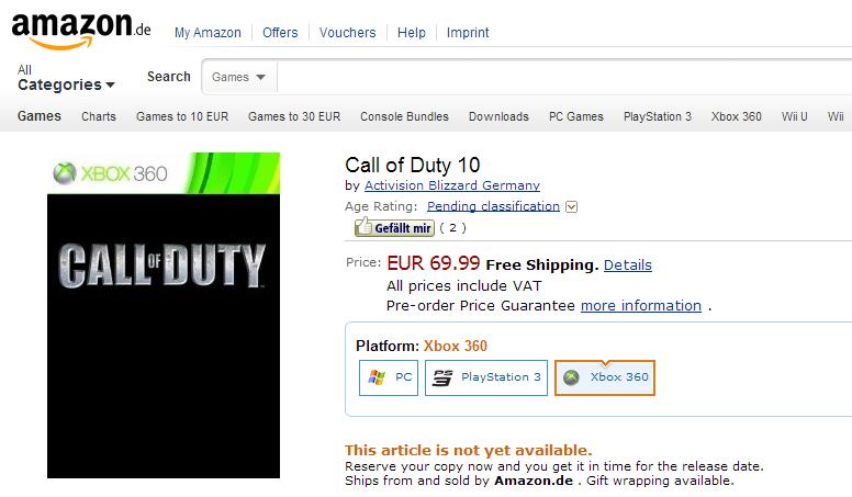 Call of Duty 10  Xbox 360  Amazon.de  Games