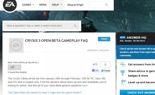 Screen Grab of Beta FAQ Page