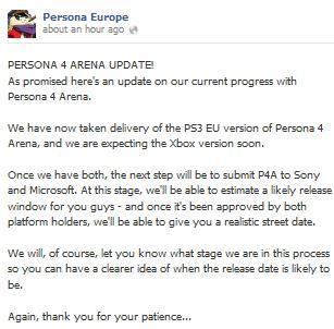 Persona 4 - Arena EU release Facebook update