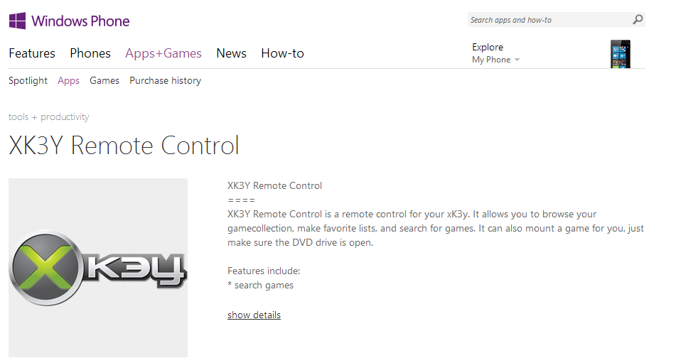 XK3Y Remote Control   Windows Phone Apps Games Store  United States