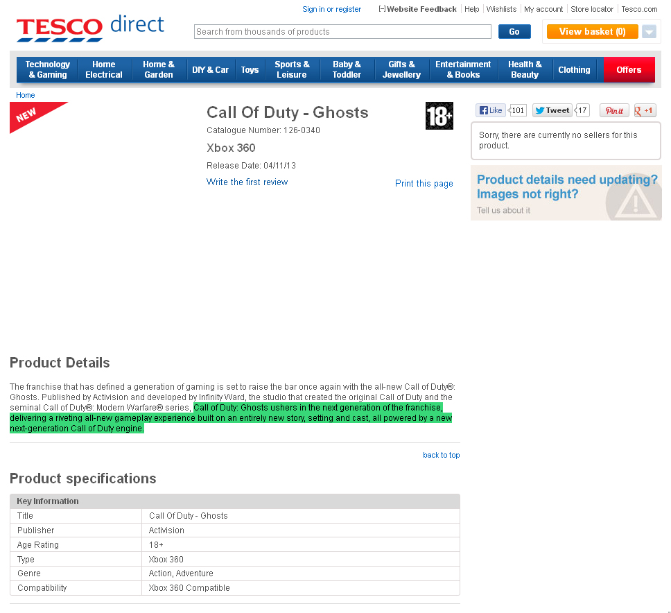 call of duty ghosts tesco