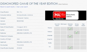 Dishonored: Game of the Year Edition Outed By Ratings Board