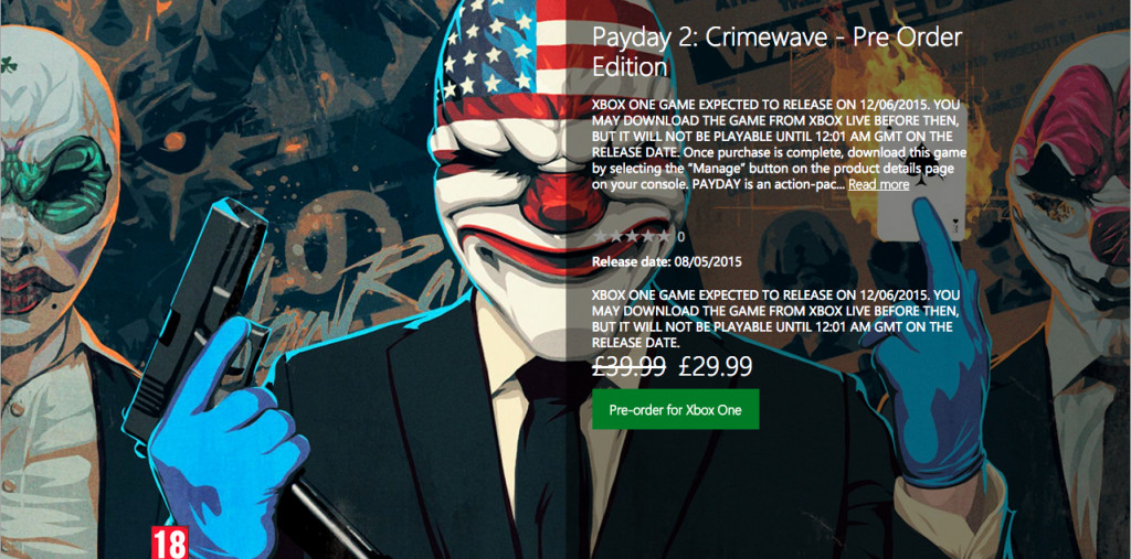 Payday preorder