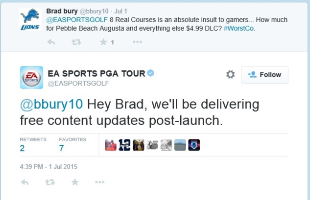 PGA Tour EA Tweet